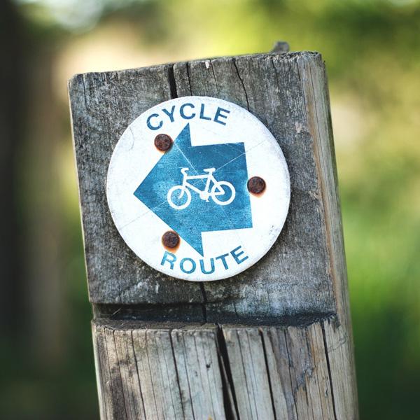 bordje van fietsroute